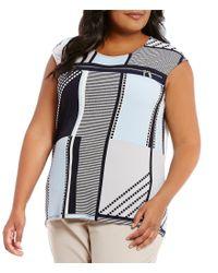 Calvin Klein | Multicolor Plus Sleeveless Printed Zipper Trim Top | Lyst