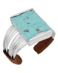 Robert Lee Morris | Blue Turquoise & Suede Multi-row Cuff Bracelet | Lyst