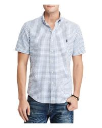 Polo Ralph Lauren | Blue Standard-fit Checked Seersucker Short-sleeve Woven Shirt for Men | Lyst