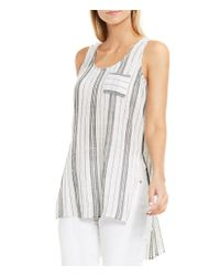 Vince Camuto | White Two Sleeveless Crinkle Cotton Side Slit Tank | Lyst