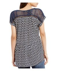 Miss Me - Blue Printed Mesh Inset High-low Blouse - Lyst