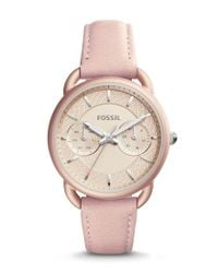 Fossil | Pink Tailor Multifunction Leather-strap Watch | Lyst