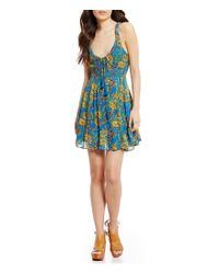 Free People | Blue Washed Ashore Printed Mini Dress | Lyst