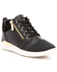 ALDO | Black Naven High-top Side Zip Lace-up Sneakers | Lyst