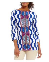 Ruby Rd - Blue Petites Embellished Boat Neck Graphic Beaded Placement Print Knit Top - Lyst