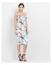 "Nicole Miller Artelier | Blue ""spring Chambray"" Floral Print Stretch Linen Dress 
