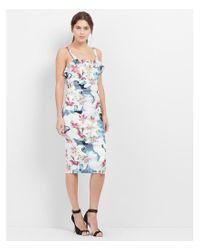 "Nicole Miller Artelier - Blue ""spring Chambray"" Floral Print Stretch Linen Dress - Lyst"