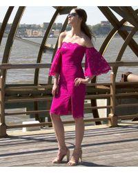 Nicole Miller Artelier | Pink Lace Off-the-shoulder Sheath Dress | Lyst
