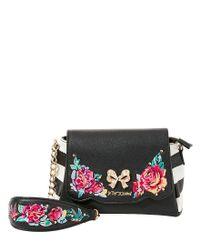 Betsey Johnson | Black Belle Rose Floral-appliquéd Cross-body Bag | Lyst