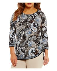 Ruby Rd | Multicolor Plus Embellished Boat-neck Fan Paisley Border Print Knit Top | Lyst