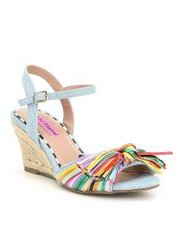 Betsey Johnson Blue Lizzie Denim Multi Color Raffia Espadrille Wedge Sandals