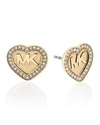 Michael Kors | Metallic Brilliance Pavé Heart Logo Stud Earrings | Lyst