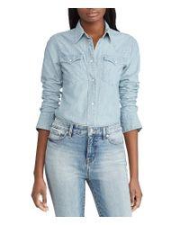 Lauren by Ralph Lauren - Blue Chambray Western Shirt - Lyst