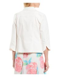 Ruby Rd - White Petites 3/4 Sleeve Button Front Double Face Stretch Solid Jacket - Lyst