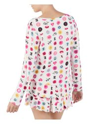 Betsey Johnson White Icons Love Printed Knit Sleep Top