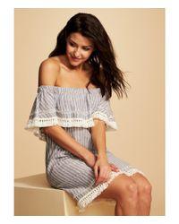 1.STATE - Gray Tassel Trim Stripe Shift Dress - Lyst