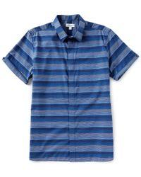 Calvin Klein - Blue French Placket Ombre Stripe Short-sleeve Woven Shirt for Men - Lyst