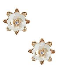 Belle By Badgley Mischka - Metallic Fancy Stone Flower Statement Stud Earring - Lyst
