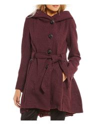 Steve Madden Blue Single Breasted Fit-and-flare Wool Hooded Drama Coat