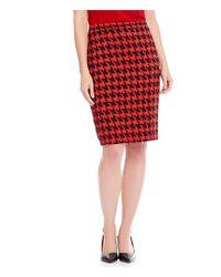 Kasper Red Houndstooth Pencil Skirt