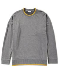 Calvin Klein - Gray Solid Stretch Long-sleeve Sweatshirt for Men - Lyst