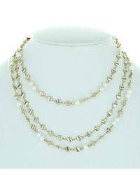 Panacea - White Three Layered Pearl Statement Necklace - Lyst