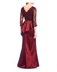 Tadashi Shoji Red Lace Bodice Scalloped V-neck Peplum Waist Slit Front Taffeta Gown