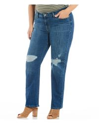Levi's Blue Plus Size 414 Classic Distressed Knee Straight Jeans