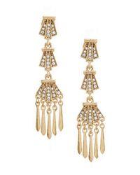 Belle By Badgley Mischka - Metallic Rhinestone Deco Dangle Statement Earrings - Lyst