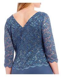 Alex Evenings - Blue Plus Size Mock 2-piece Lace Chiffon Gown - Lyst