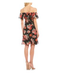 Astr - Black Cassidy Ruffle Off The Shoulder Floral Print Dress - Lyst
