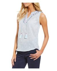 Joules - Blue Otille Embroidered Neckline Sleeveless Dotted Tassel Top - Lyst
