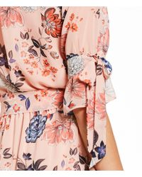 Vince Camuto - Pink Floral Blouson Tie Sleeve Dress - Lyst