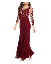 Decode 1.8 Red Illusion Lace Applique Gown