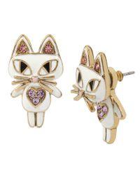 Betsey Johnson - Metallic Cat Front/back Earrings - Lyst
