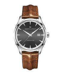 Hamilton - Brown Jazzmaster Gent Analog & Date Leather-strap Watch for Men - Lyst