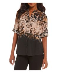 Calvin Klein - Multicolor Ombre Floral Print Roll-sleeve Blouse - Lyst