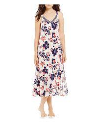 Oscar de la Renta | Blue Pink Label Floral-print Knit Long Nightgown | Lyst