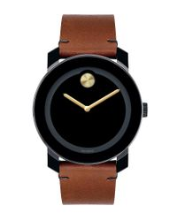 Movado Bold - Black & Brown Leather Analog Watch for Men - Lyst