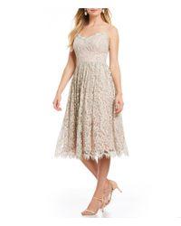 Eliza J - White Floral Lace Midi Dress - Lyst