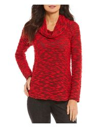 Ruby Rd Red Cowl-neck Knobby Slub Knit Pullover