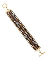 Lucky Brand - Metallic Beaded Leather Line Bracelet - Lyst
