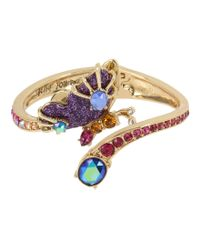 Betsey Johnson - Multicolor Butterfly Hinged Bangle Bracelet - Lyst