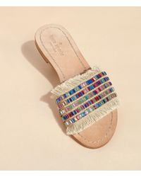 Kate Spade - Multicolor Solaina Jeweled Raffia Slide Sandals - Lyst