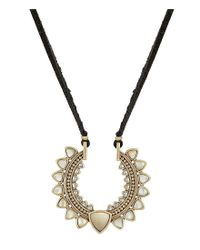 Lucky Brand - Metallic Adjustable Leather & Rock Crystal Pendant Necklace - Lyst
