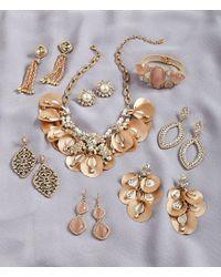 Belle By Badgley Mischka - Metallic Pearl & Rhinestone Cluster Stud Earrings - Lyst