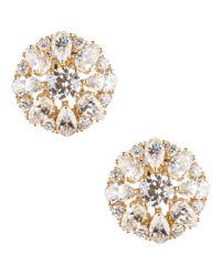 Nadri - Gray Cubic Zirconia Cluster Clip-on Stud Earrings - Lyst