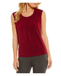 Kasper - Red Sleeveless Knit Top - Lyst