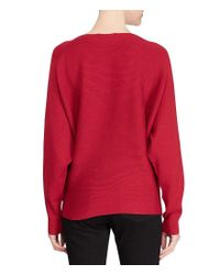 Lauren by Ralph Lauren - Red Cotton-blend Dolman Sweater - Lyst