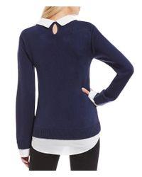 Ivanka Trump Blue Layered 2-fer Embellished Peter Pan Collar Sweater